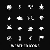 weather, climate, sun, clouds white isolated icons, signs on black background for design template, v