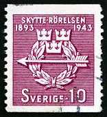 Postage Stamp Sweden 1943 Rifle Federation Emblem