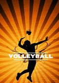 pic of volleyball  - Volleyball jumping girl sport background with space - JPG