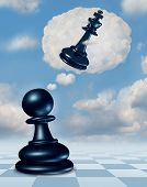image of three kings  - Dreaming of success with a chess game pawn piece having aspirations of becoming a king and leader with a thought bubble made of clouds thinking for the future as a business concept of planning and strategy - JPG