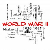 stock photo of mussolini  - World War II Word Cloud Concept in red caps with great terms such as guns axis allies victory and more - JPG