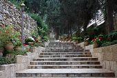 stock photo of church mary magdalene  - Stairs to the Russian Orthodox church of Mary Magdalene at the Mount of Olives in Jerusalem - JPG