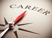 stock photo of objectives  - One compass needle pointing the word career image suitable for career opportunities management - JPG