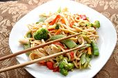 image of lo mein  - Chicken lo mein in a bowl with chopsticks - JPG