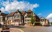 stock photo of alsatian  - Alsatian style houses in Kintzheim Alsace France - JPG