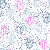 Gray and pink lily lineart seamless pattern background