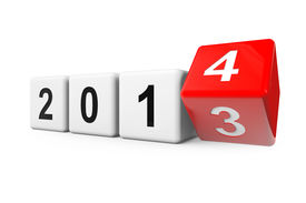 stock photo of happy new year 2013  - Blocks with the transition from year 2013 to 2014 on a white background - JPG
