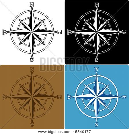 Four Colored Compass Roses