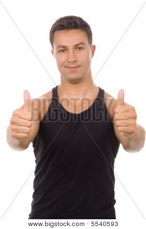 Young Athletic Man Thumbs Up, Isolated On White