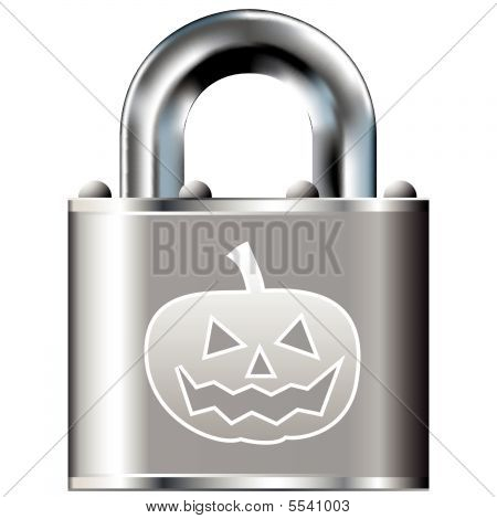 Halloween pumpkin on secure lock