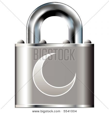 Crescent moon on secure lock
