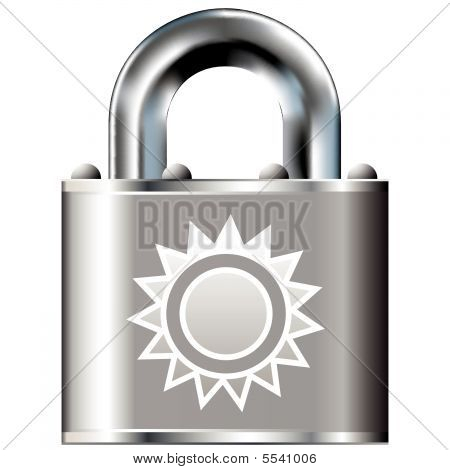 Sun icon on secure lock