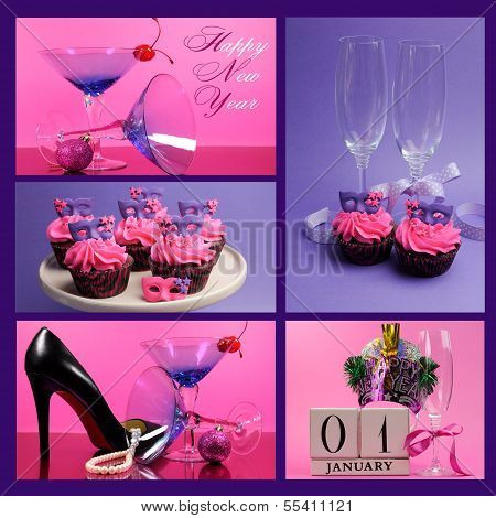 Pink And Purple Theme Happy New Year Collage With Party Theme Martini Cocktail And Champagne Glasses