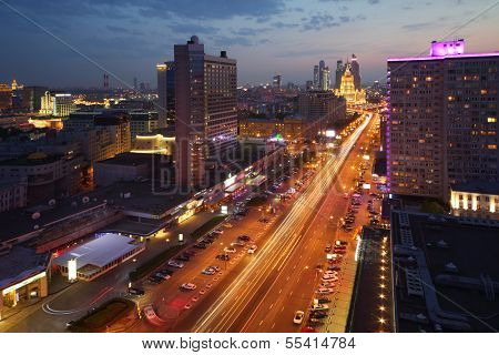 MOSCOW - MAY 12: Buildings at New Arbat Street and Hotel Ukraine at evening, on May 12, 2013 in Moscow, Russia. Length of New Arbat is 1.5 km.