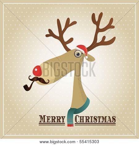 Vector Illustration Hipster Reindeer Merry Christmas Card