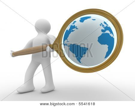 Man With Magnifier And Globe On White Background. Isolated 3D Image