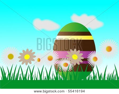 Easter Egg Chocolate And  Flowers