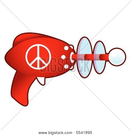 Peace sign on retro raygun