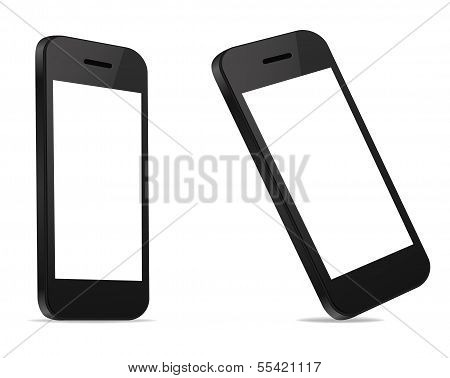 Perspective view Mobile Smart Phone new modern blank on white background