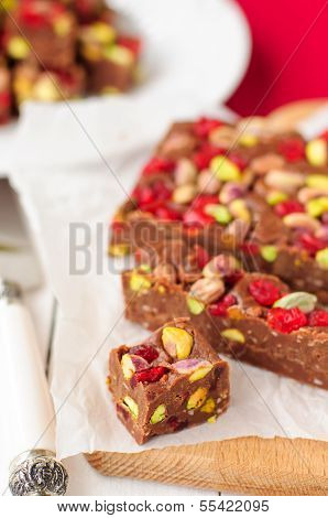 Chocolate Fudge With Glace Cherries, Pistachios And Coconut
