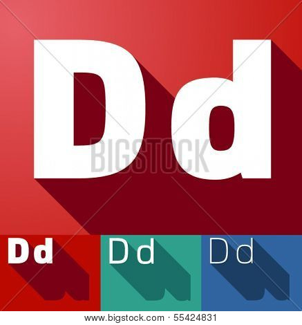 Vector illustration of flat modern long shadow alphabet. Letter d