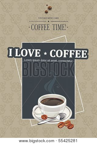 Restaurant menu design for cafe, bar, coffeehouse. Vector illustration with cup coffee.