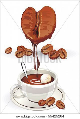 Coffee Bean in the shape of a heart. Represents the love of coffee. Cup of coffee on white background. Valentine's day Vector illustration
