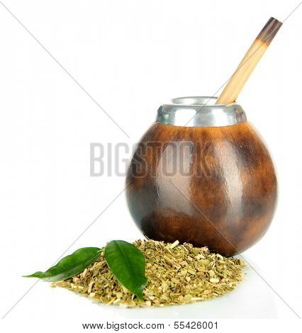 Calabash and bombilla with yerba mate isolated on white