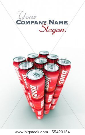 Tower of red soda cans