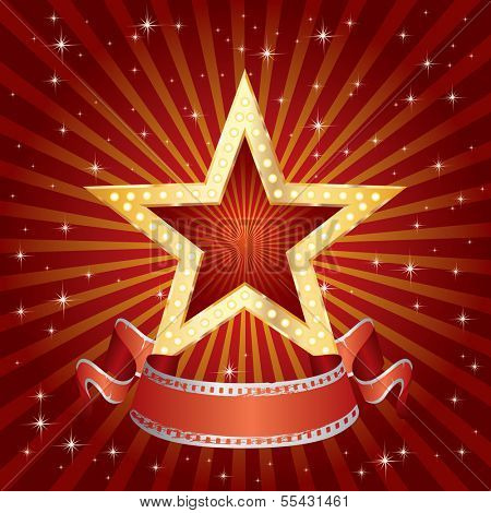 vector blank golden movie star in red burst night