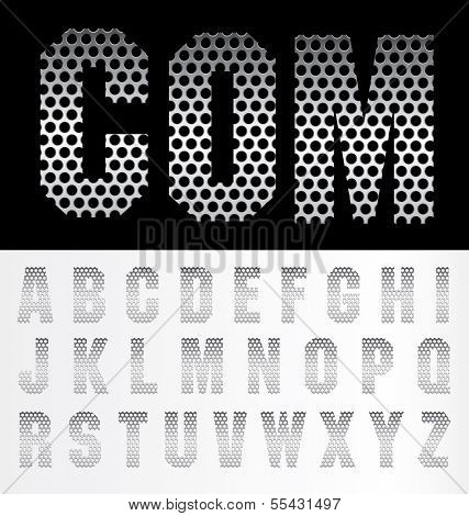 alphabet of perforated metal plate
