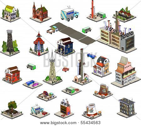 City 3D icons collection