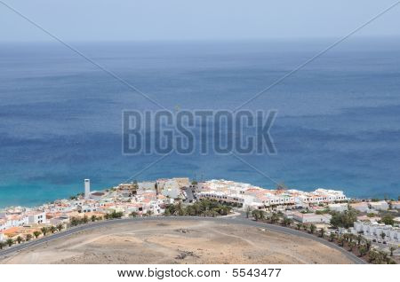 Aerial View Over Town Morro Jable, Fuerteventura