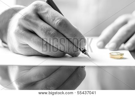 Signing Divorce Paper