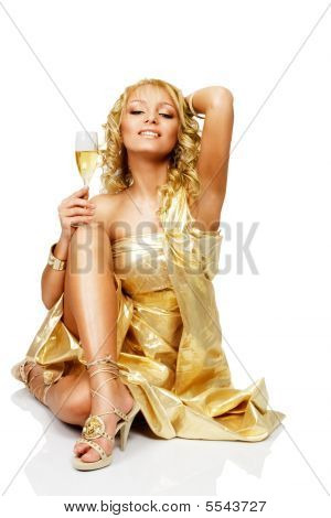 Young Blond Woman With Champagne Glass