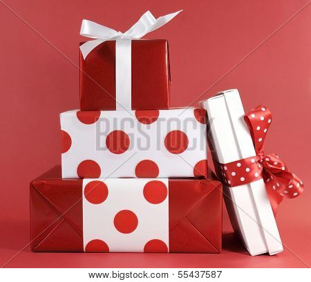 Stack Of Red And White Polka Dot Theme Festive Gift Box Presents For Christmas, Valentine, Birthday