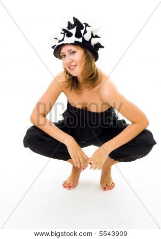 Woman Squat In Party Hat