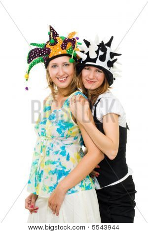 Two Women Actors Together In Party Hats