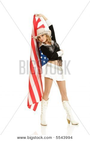 Young Blonde Girl With American Flag