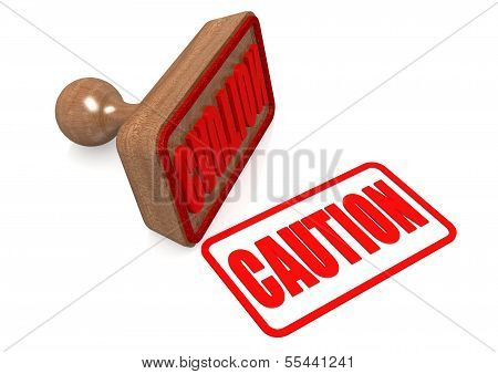Caution word on wooden stamp