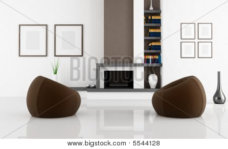 White And Brown Fireplace Room
