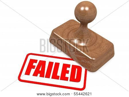 Failed word on wooden stamp