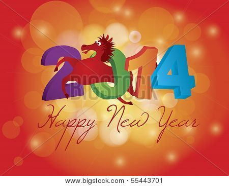 2014 Chinese Horse Leaping Over Numerals Illustration