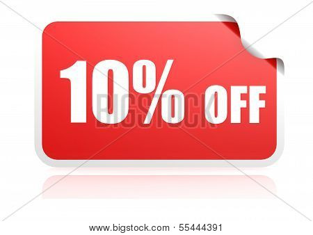 10 percent off sticker