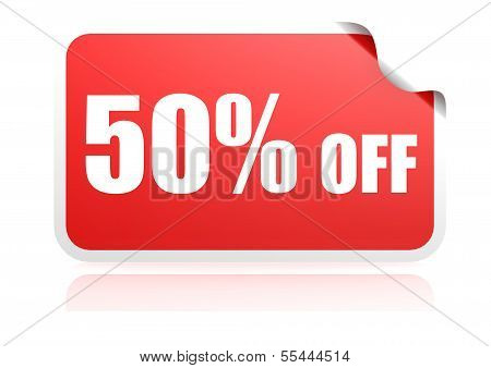 50 percent off sticker