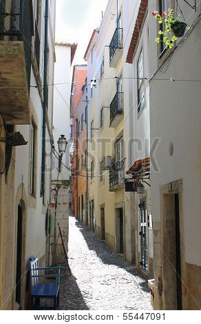 Narrow Street In Alfama, Portugal