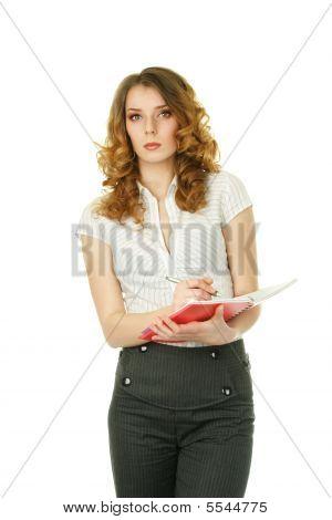 Businesswoman Make Notes