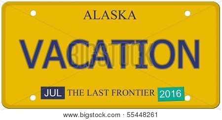 Vacation Alaska License Plate