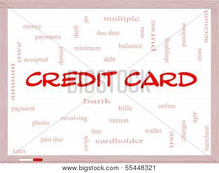 Credit Card Word Cloud Concept On A Whiteboard