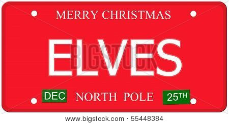 Elves North Pole License Plate